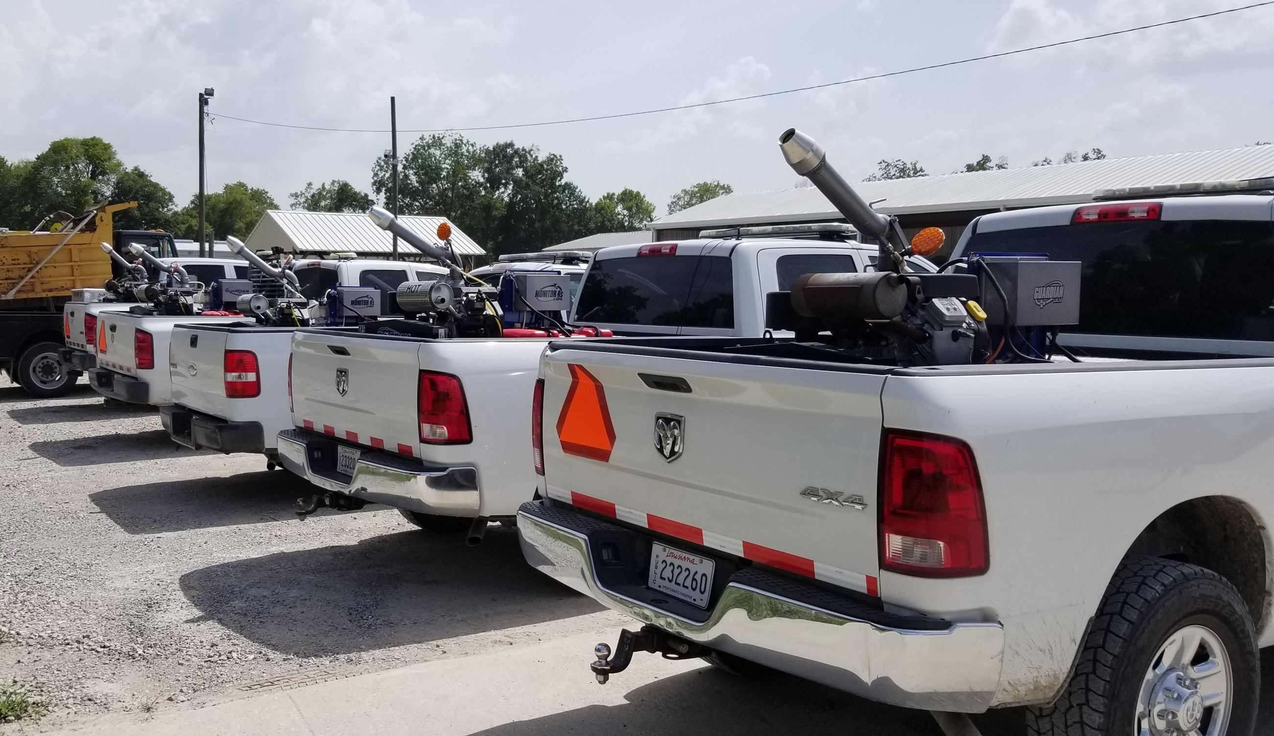 mosquito trucks in a row